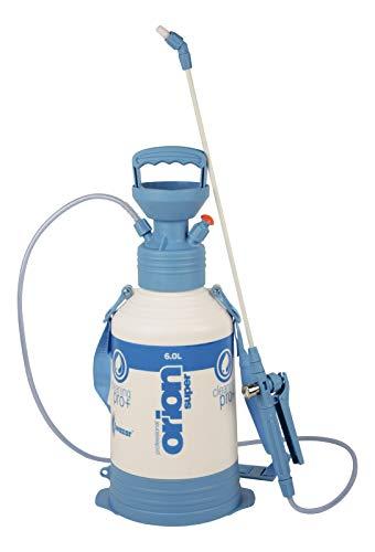 Kwazar 20010033 Industrie Pumpsprüher Drucksprüher mit Viton-Dichtung Orion Pro plus 6 L, weiß/blau, 22 x 22 x 64 cm