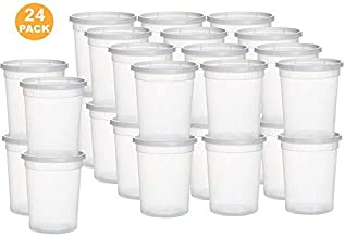 Solid Best Plastic Deli Food Storage Containers with Lids - 32 oz Quart Freezer containers [24 Sets]