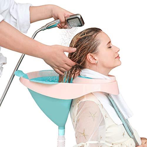 Wensa Tragbar Friseur Waschbecken, Mobiles Waschsessel Rückwärtswaschbecken, Bett Bad Haarwaschbecken mit Ablassen Tube zum Alten, Deaktiviert, Bettlägerig und Behindert