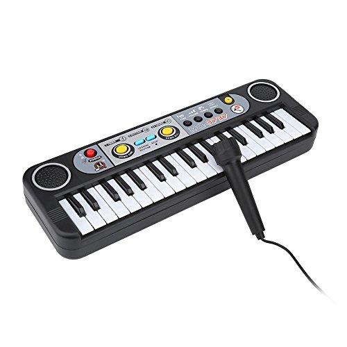Mini Teclado Eléctrico Tablero de Teclas Digitales de 37 Teclas 3 Tonos 8 Ritmos Teclado Electrónico Piano Musical Instrumentos con MicróFono Juguetes de Inteligencia Musical para Niños
