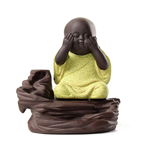 Belleashy Quemador de incienso de Buda con reflujo de incienso, soporte para quemador budista, monje zazen, hogar, fragante, decoración para el hogar, oficina, yoga (tamaño: 10,5 x 11 cm; color: # 3)