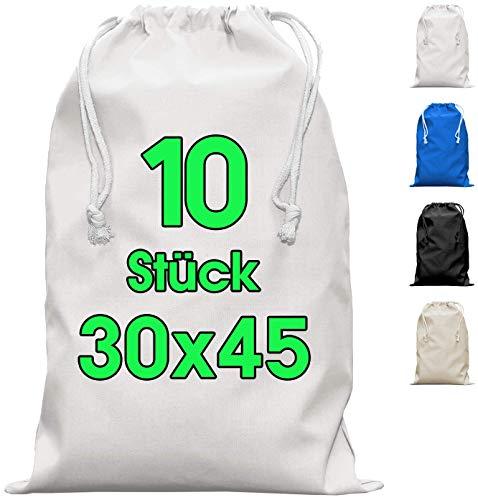 Zuziehbeutel Baumwollbeutel 10 Stück 30 x 45 cm - Rucksack Stofftasche Turnbeutel Bag, Beutel, Reise Haushalt, Jutebeutel zertifiziert Stoffbeutel Einkaufsbeutel mit Kordelzug zum bemalen in Weiss
