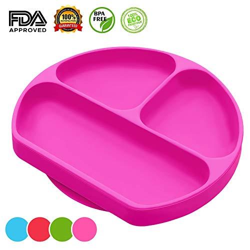 Plato de silicona para bebé, fuerte succión ultra grueso para alimentación de niños pequeños con sección dividida, alfombrilla de mesa para trona y viaje (rosa)