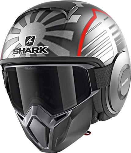 SHARK NC Casco per Moto, Hombre, Gris/Rojo, M