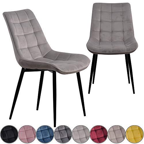 iomangio® Esszimmerstühle 2er Set | Hell Grau Esszimmerstuhl Küchenstuhl | Polsterstuhl Design Stuhl mit Rückenlehne, mit Sitzfläche aus Samt/Stoffbezug | Gestell aus Metall | Samt Stühle