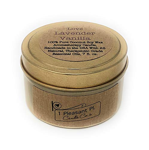 1 Pleasant Pl. Candle Co. Aromatherapy Candle Handmade in The USA with All Natural, Therapeutic Grade Essential Oils, 16 fl oz (Lavender Vanilla - Love, Travel Tin)