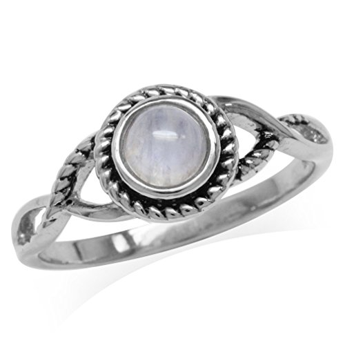 Silvershake 5mm Natural Round Shape Moonstone 925 Sterling Silver Rope Solitaire Ring Size 12
