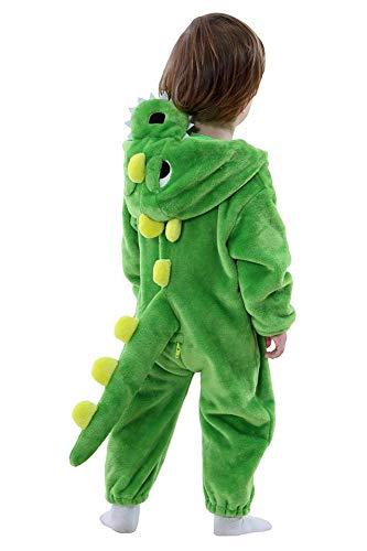 Mameluco de Dinosaurio dragón para bebé Unisex Pijama de Franela de Invierno con Capucha Disfraz de Halloween para niños pequeños (23-30 Meses)