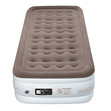 Etekcity Upgraded Air Mattress Blow up Elevated Raised Guest Bed Inflatable Airbed with Built-in Electric Pump, Height 18'', Twin Size