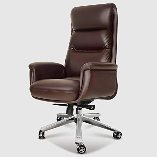 High Back Office Chair, Executive Swivel Computer Chair, PU Leather Large Seat, Tilt Function Simple Comfortable Sedentary Boss Chair, Durable and Stable,Brown,Cowhide