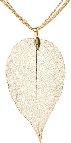 styleBREAKER Collana con Ciondolo in filigrana Albero-Foglia, 3 Catene, Chiusura a moschettone, Donna 05030018, Colore:Oro