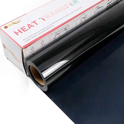 HTVRONT Plotterfolie Textil-30.5cmx610cm Schwarze Flexfolie zum Aufbügeln auf T-Shirt(Schwarz)