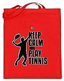 Keep Calm And Play - Bolsa de yute con asas largas para tenis, diseño deportivo para mujer y hombre, color, talla 38cm-42cm