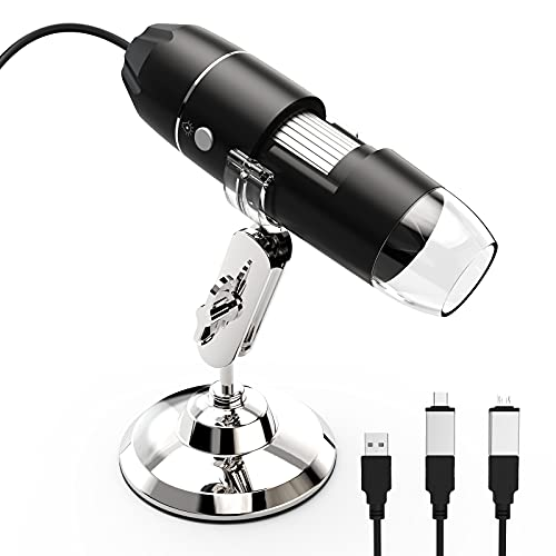 RF4 Digital Microscope Camera 40X-1000X USB Electron Microscope Magnification Endoscope with 8 Led Lights Metal Stand Compatible with Cellphone and Computer