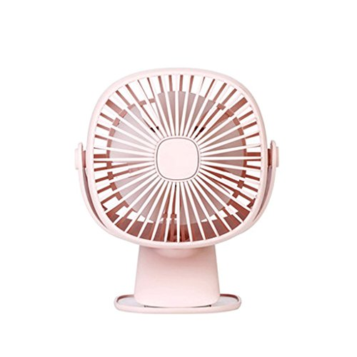 YP-tafelventilatoren, voor mini-slaapkamer, usb, oplaadbare studentenhuisje, bed, rustig bureau, clip-on schrijftafelfan, ingebouwde dual use met licht stille duurzame lucht roze