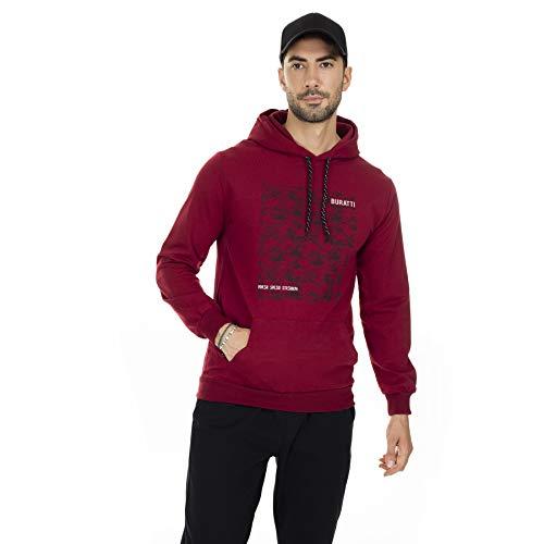 BURATTI - Sudadera con capucha para hombre, con bolsillo tipo canguro Burgund-2 XL
