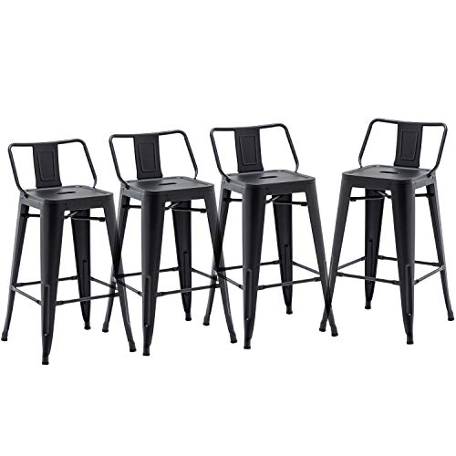 24' Low Back Metal Counter Stool Height Bar Stools [Set of 4] for Indoor/Outdoor Barstools, Matte Black