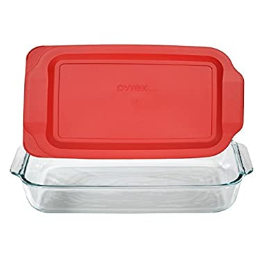 Pyrex Basics 3 Quart Glass Oblong Baking Dish with Red Plastic Lid - 9 inch x 13 Inch
