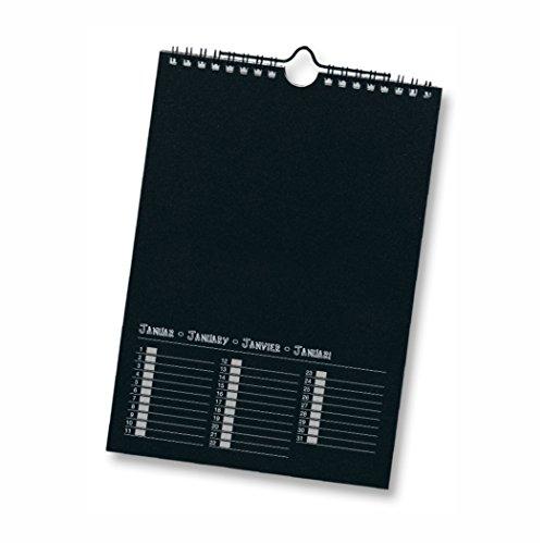 Dauerkalender mit Spiralbindung 220g/m², 17x24 cm Papier schwarz Druck silber