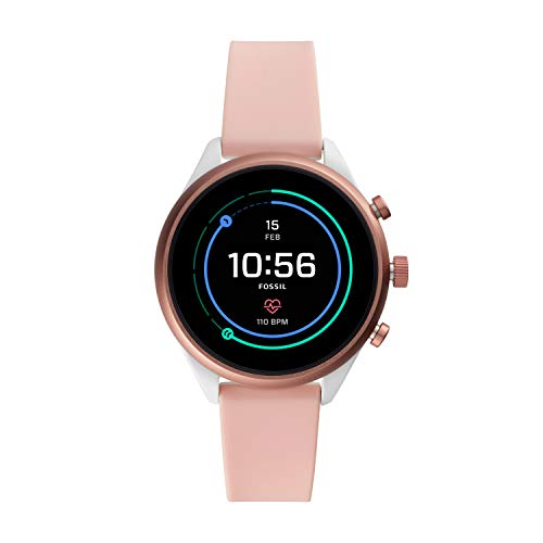 Fossil Women's Gen 4 Sport Heart Rate Metal and Silicone Touchscreen Smartwatch, Color:Blush Pink...