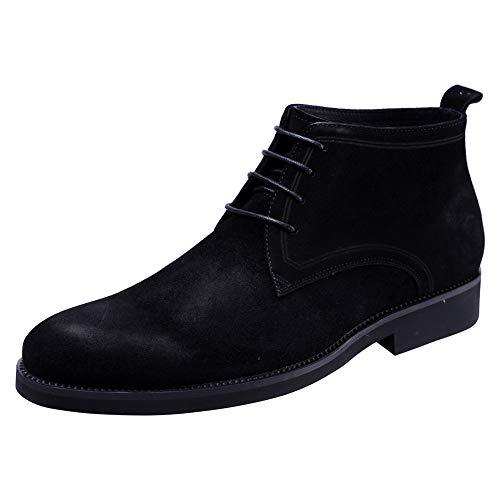 Santimon Herren Chukka Boots Wildleder klassisch Schnürsenkel Freizeit Formal Kurzschaft Stiefel Schwarz 38 EU