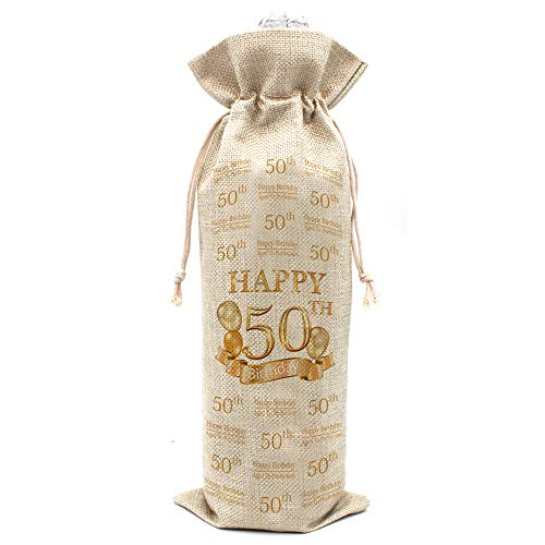 50th Birthday Gifts for Women and Men Wine Bags - Vintage 50 Year Old Presents, Best Anniversary Gift Ideas for Him Her Husband Wife Mom Dad - Cotton burlap drawstring Wine Bag