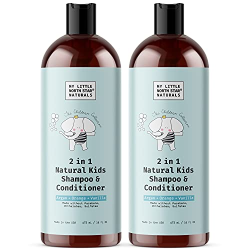 Kids Shampoo and Conditioner   Natural Gentle 2-in-1 Soap   Made in USA   Argan Orange Vanilla Shea   2x16oz   Made Without Sulfate