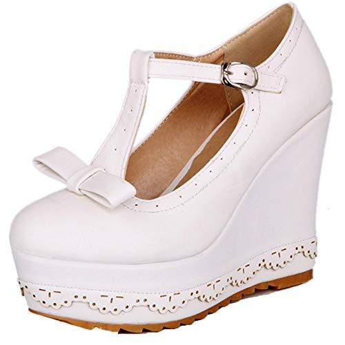 Zapatos de tacón Alto de cuña para Mujer, Zapatos de Cuero con Plataforma de Bowknot de Estilo Dulce, Zapatos de Mary Jane con Hebilla con Correa en T y Punta Redonda