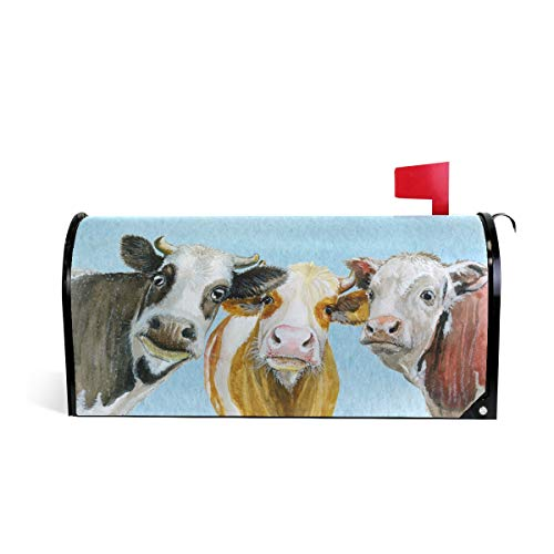 Tarity Funny Watercolor Cows Mailbox Covers Magnetic Spring...