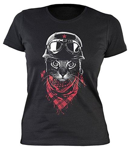 Lady-Shirt Biker-Katze Shirts 4 Girls Damen T-Shirt Geburtstag-Geschenk geil Bedruckt