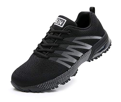 Azooken Herren Damen Sportschuhe Laufschuhe Turnschuhe Sneakers Leichte Fitness Mesh Air Sneaker Straßenlaufschuhe Outdoor(8995 Black47)