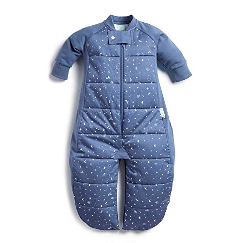 ergoPouch 3.5 TOG Sleep Suit Bag 100% Organic Cotton Filling with Cotton Sleeves and fold Over Mitts. 2 in 1 Wearable Blanket Sleeping Bag converts to Sleep Suit with Legs (Night Sky, 2-4 Year)