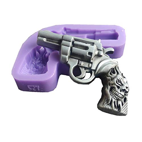 Pistol Shape Fondant Cake Silicone Mold 3D Skull Gun Craft Molds Christmas Candy Chocolate Mould by Runloo