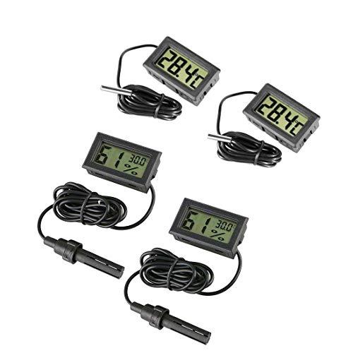 JZK 4 x Mini Digital Aquarium Thermometer mit Sonde & Batterie, LCD-Display für Terrarium, Aquarium und Vivarium