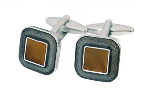 Unbekannt Manschettenknöpfe Tigerauge (echter Naturstein!) metallic-grauen Lack quadratische Form 16 mm + Box Sale