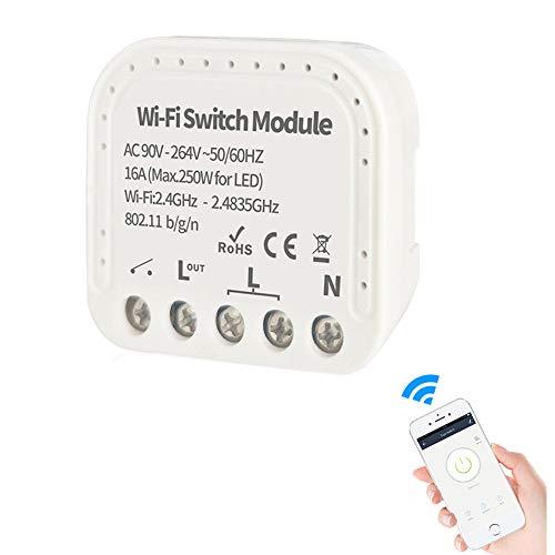 Interruttore WiFi wireless smart switch modulo da incasso compatibile Alexa, Google Home,, Android, a controllo vocale per uso da uno o più punti anche con deviatore e invertitore