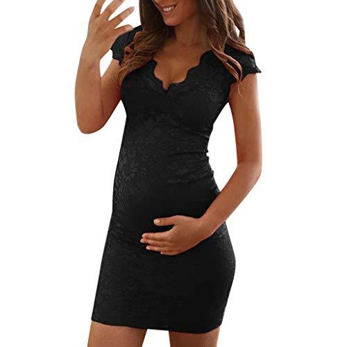 SuperSU-Umstandskleidung ►▷Sommer Sexy Umstandsmode Umstandskleidung Damen Spitze Print Spleiß V-Ausschnitt Ärmellos Kleider,Schwangere Bequeme Umstands Swingkleid Cocktailkleid