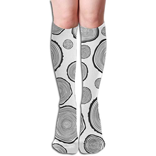 Calcetines altos para mujer con diseño de árbol, anillo anual, deportes, fútbol, niñas, de invierno, para pantalones de punto, botas largas