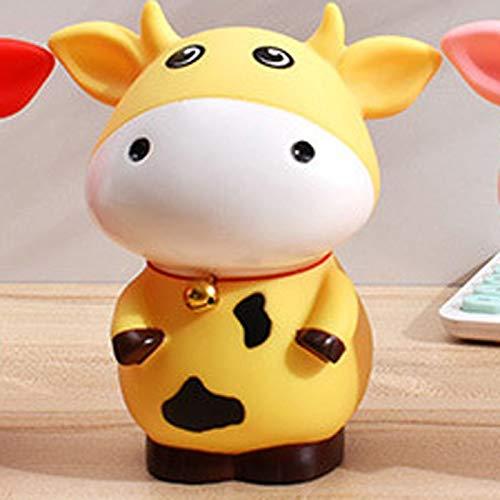 Resina Piggy Bank Animal Vaca Caja de Dinero Caja de Ahorro Grande Caja Fuerte para el Dinero Recipiente de Monedas Lindas para niños Regalos para niños Decoración del hogar (Color : Small Yellow)