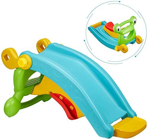 OKBOP 2 in 1 Kids Freestanding Slide and Rocking Horse, Toddler Plastic Climber Slide Set, Multi-Function Baby First Slide Playset, Indoor Outdoor Activity Center Toys for Boys Girls (Multicolour)