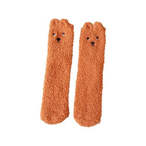 YWLINK Calcetines De Lana Coral Mujer,Calcetines Suaves Calcetines para Dormir Calcetines De Suelo Calcetines Termicos Calcetines Largos De Color Liso Calcetines De Invierno (C2, Talla única)