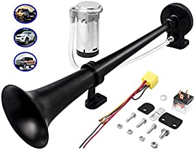 Carfka Air Train Horn Kit for Truck Car with Air Compressor, Super Loud 12V Electric Trains Horns for Vehicles, Single Trumpet Air Horn Complete Kits for Easy to Install (Black)