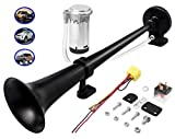 Carfka Train Horn Kit for Truck Car with Air Compressor, Super Loud 150DB 12V Electric Trains Horns for Vehicles, Single Trumpet Air Horn Complete Kits for Easy to Install, Jeep SUV Lorrys Boats