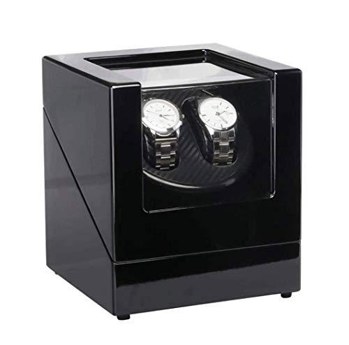 SMSOM Binder automático Doble, Motor Mabuchi Extremadamente silencioso, Almohada de Reloj para Relojes automáticos para Hombres y señora, Negro