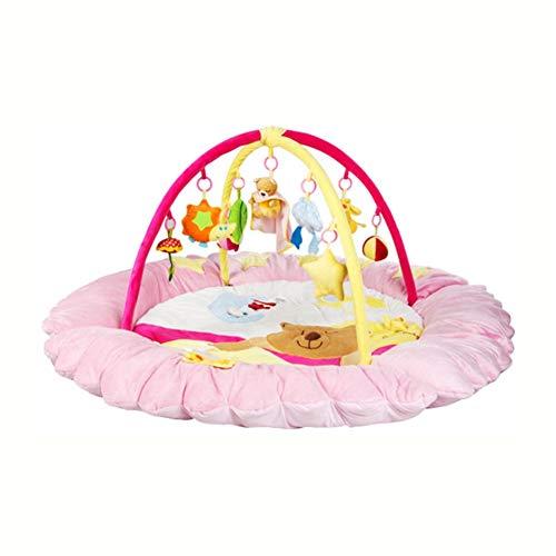 Tapis de Jeu pour bébé Berceau de Luxe Musique Tapis de Jeu en Coton Doux Tapis de Jeu Tapis rampants Tapis de Sol pour Enfants Tapis de Sol Tapis de Sol Pépinière Chambre d'enfants Décoration,Pink