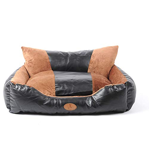 COOLLL Fluffy Dog Beds, Foam Dog Sofa Bed Fleece For Large Dogs, Made of PU leather and Smooth Velveteen Fabric, Detachable and Washable, Premium Waterproof Memory Foam Dog Bed (150x110x45cm)