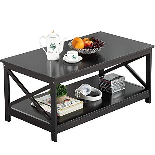 ZONSUSE Couchtisch mit zusätzlicher Ablagefläche, Sofatisch 2 Etagen, Wohnzimmertisch Kaffeetisch Sofatisch für Wohnzimmer, Büro (Schwarz)