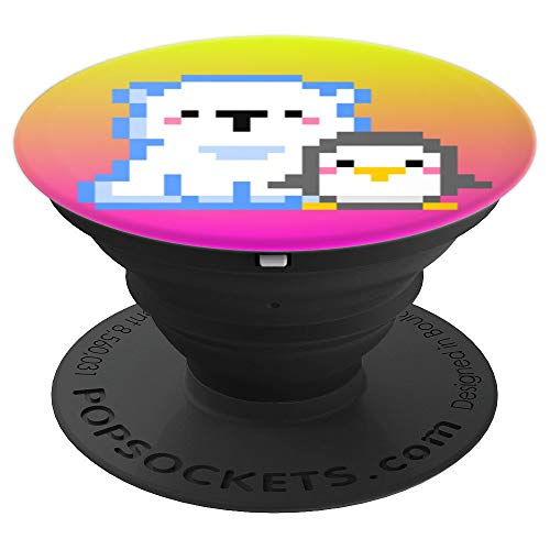 Gamer Girl Gift 8-Bit Kawaii Penguin Polar Bear Video Game PopSockets Grip and Stand for Phones and Tablets