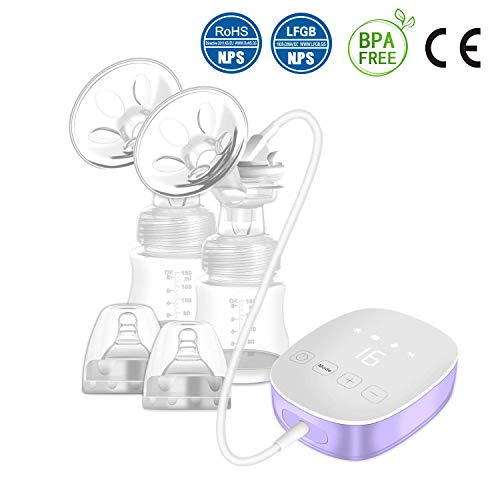 Double Electric Breast Pump, Portable Breast Pump with Adjustable Suction & Pumping Levels for Mom's...