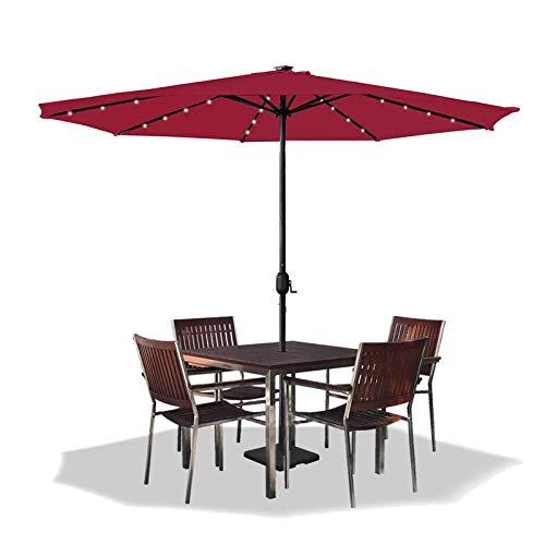 Asina 350cm Sombrilla de Jardín en Poliéste Parasol de Protección Solar UV con Mango de 38mm y 32 Leds Sombrilla para Patio Balcón Actividades al Aire Libre(Rojo Vino)